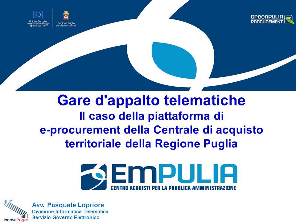 Gare d appalto telematiche Il caso della piattaforma di e-procurement della Centrale di acquisto territoriale della Regione Puglia