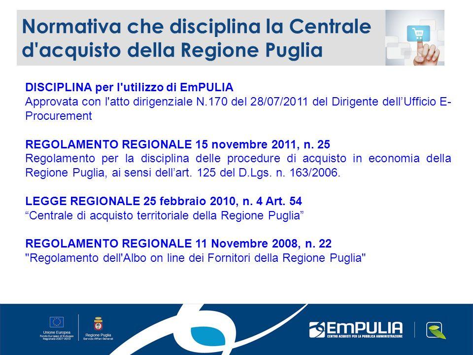 Normativa che disciplina la Centrale d acquisto della Regione Puglia