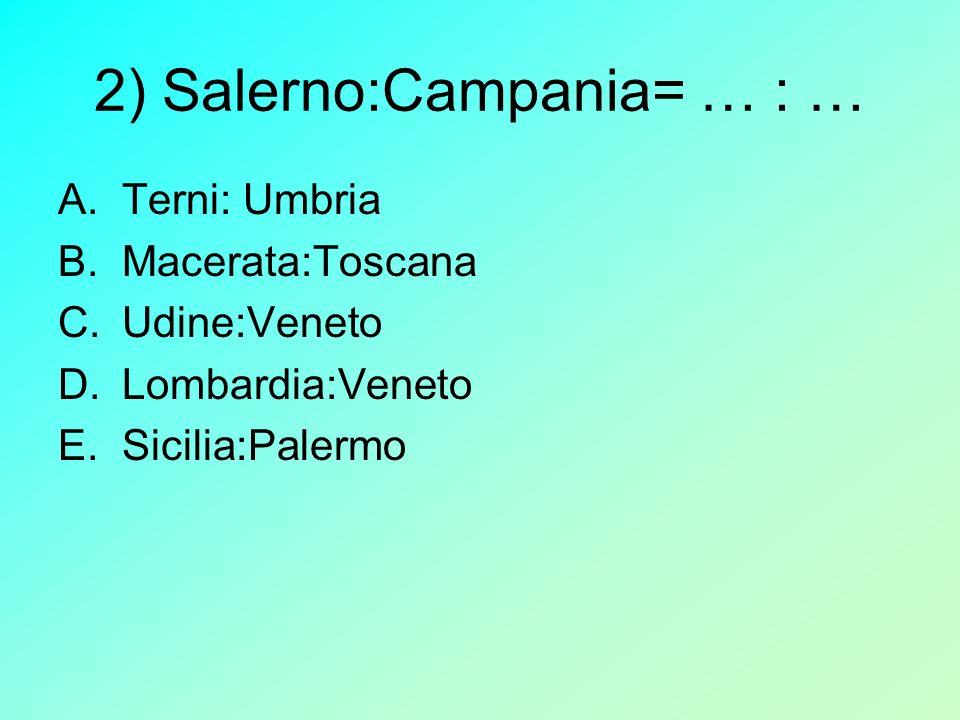 2) Salerno:Campania= … : …