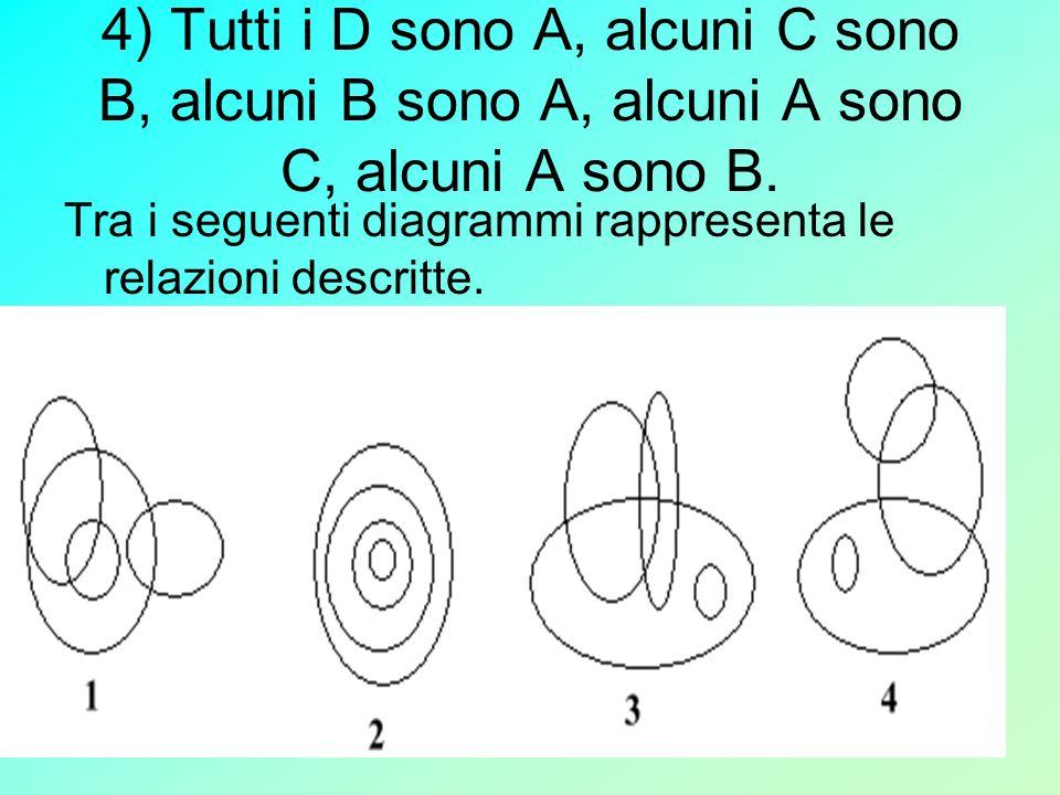 4) Tutti i D sono A, alcuni C sono B, alcuni B sono A, alcuni A sono C, alcuni A sono B.