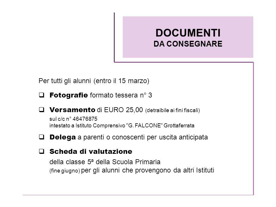 DOCUMENTI DA CONSEGNARE Per tutti gli alunni (entro il 15 marzo)