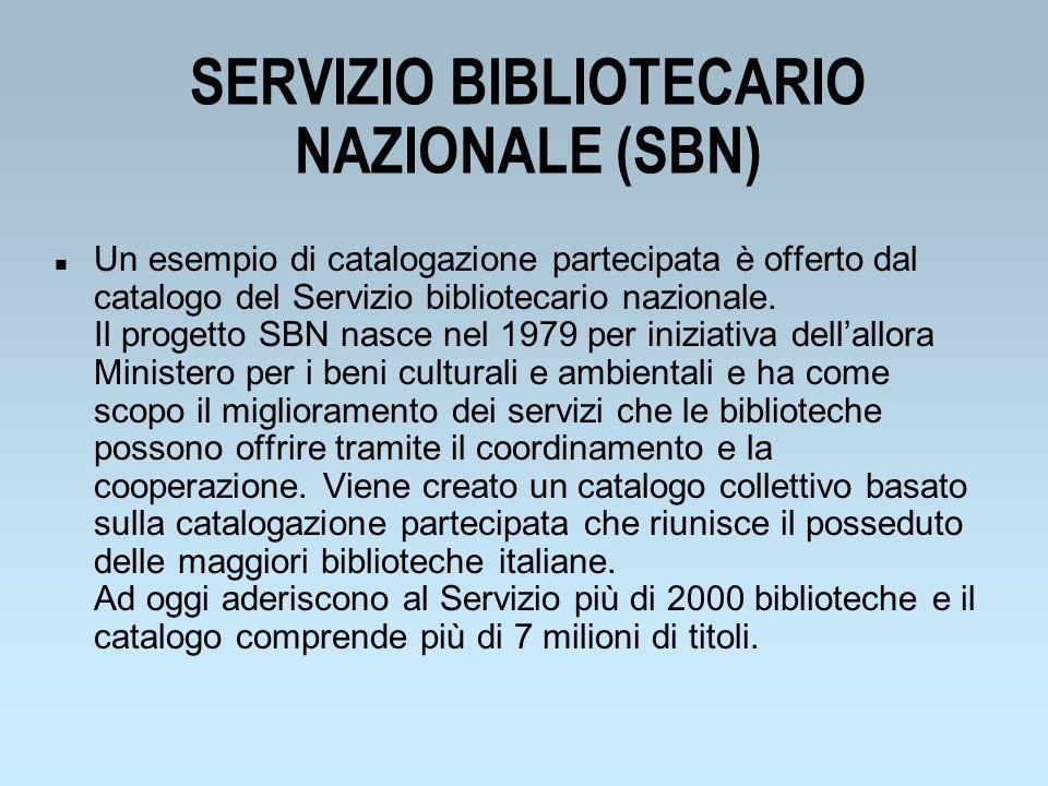 SERVIZIO BIBLIOTECARIO NAZIONALE (SBN)