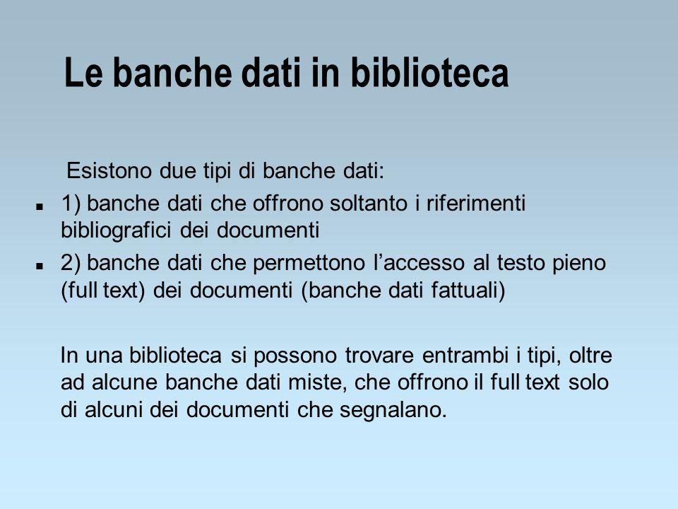 Le banche dati in biblioteca
