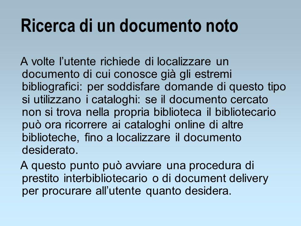 Ricerca di un documento noto