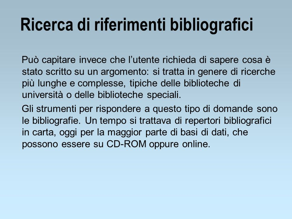 Ricerca di riferimenti bibliografici