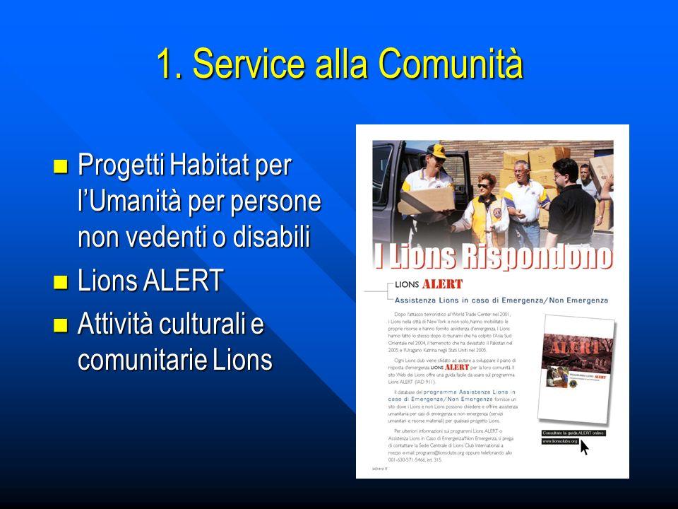 1. Service alla Comunità Progetti Habitat per l'Umanità per persone non vedenti o disabili. Lions ALERT.