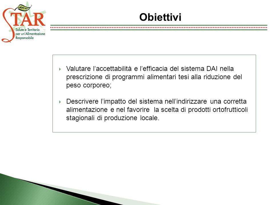 Obiettivi Valutare l'accettabilità e l'efficacia del sistema DAI nella prescrizione di programmi alimentari tesi alla riduzione del peso corporeo;