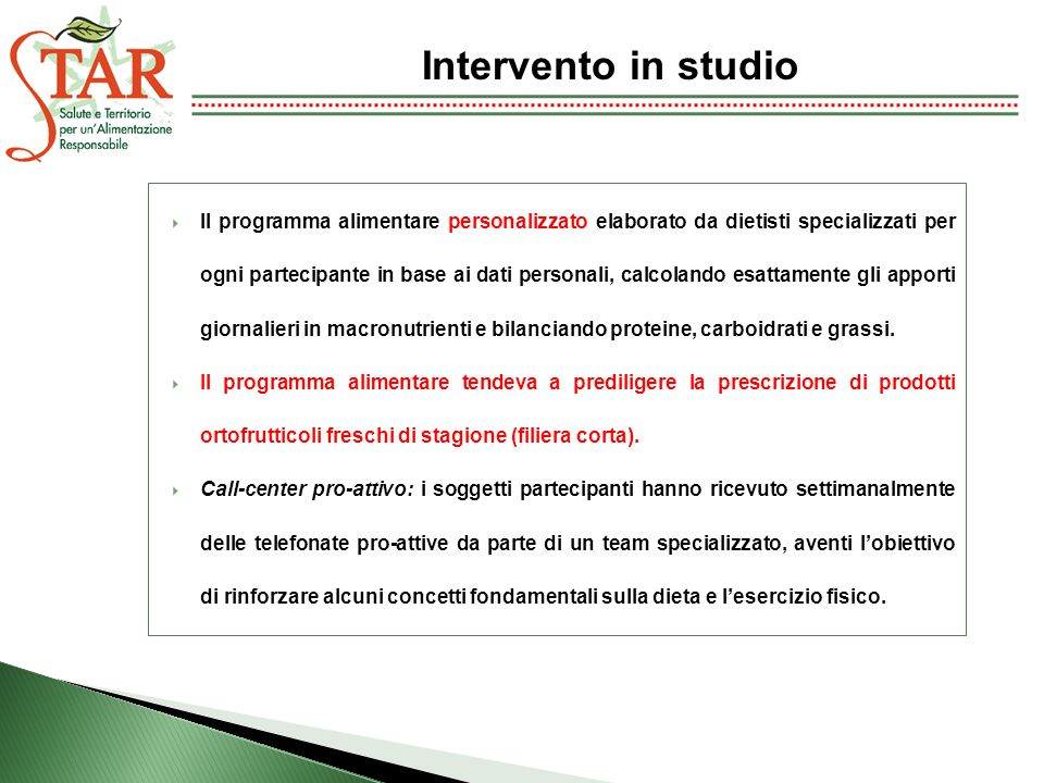 Intervento in studio