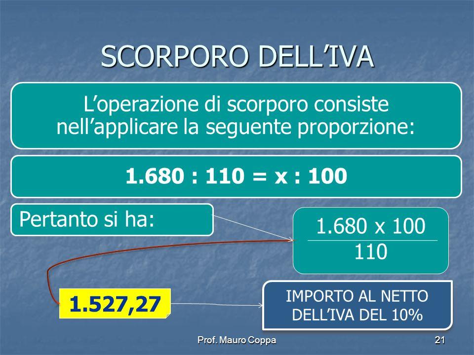 IMPORTO AL NETTO DELL'IVA DEL 10%