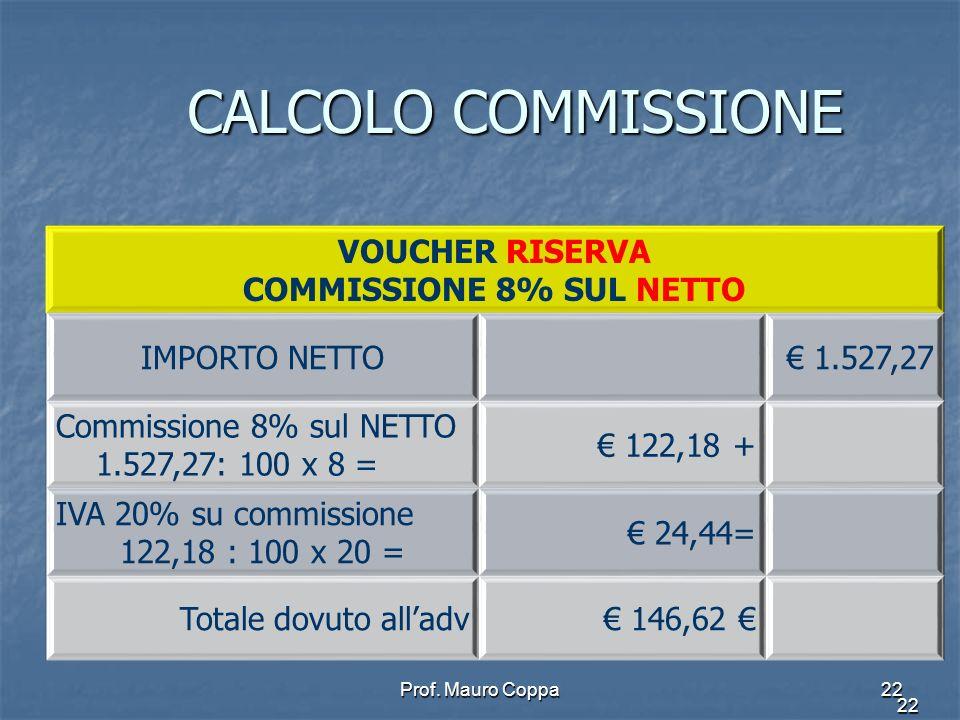 COMMISSIONE 8% SUL NETTO
