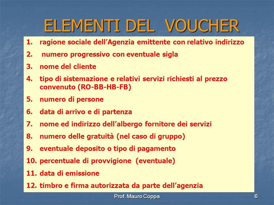 ELEMENTI DEL VOUCHER ragione sociale dell'Agenzia emittente con relativo indirizzo. numero progressivo con eventuale sigla.