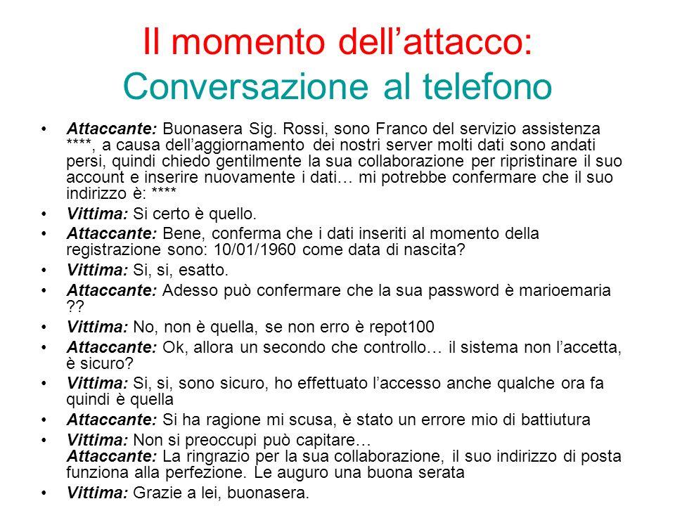 Il momento dell'attacco: Conversazione al telefono