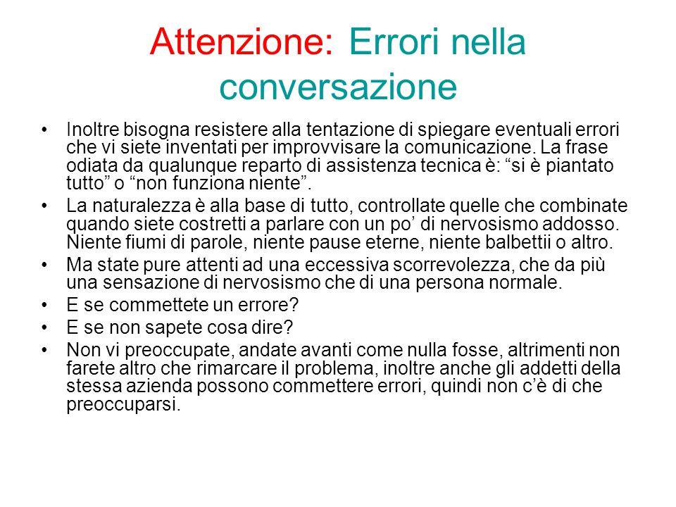 Attenzione: Errori nella conversazione