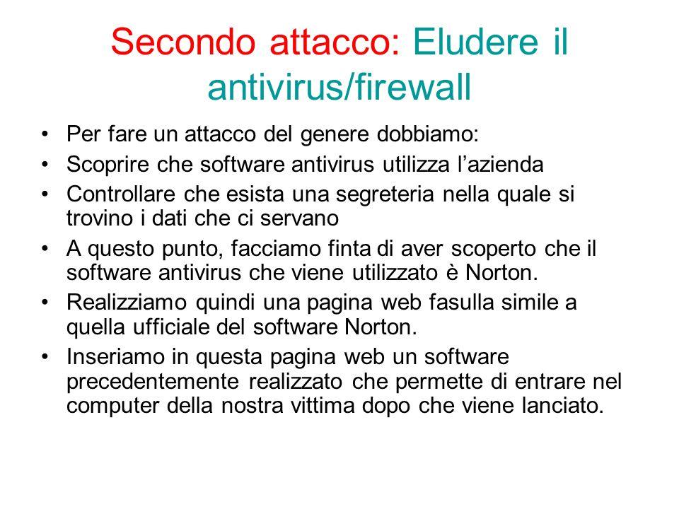 Secondo attacco: Eludere il antivirus/firewall