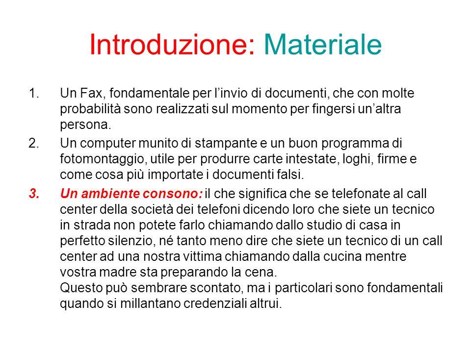 Introduzione: Materiale