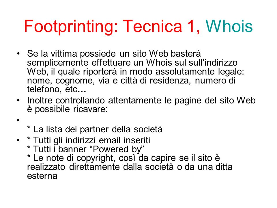 Footprinting: Tecnica 1, Whois