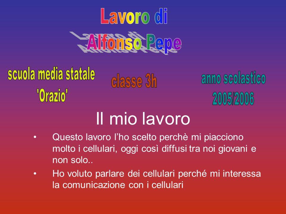 Lavoro di Alfonso Pepe. scuola media statale. Orazio anno scolastico. 2005/2006. classe 3h. Il mio lavoro.