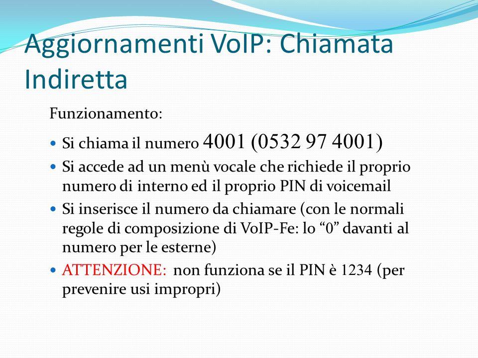 Aggiornamenti VoIP: Chiamata Indiretta