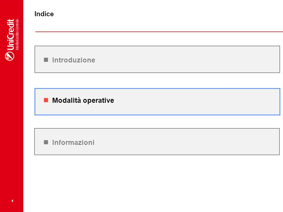 Indice Introduzione Modalità operative Informazioni