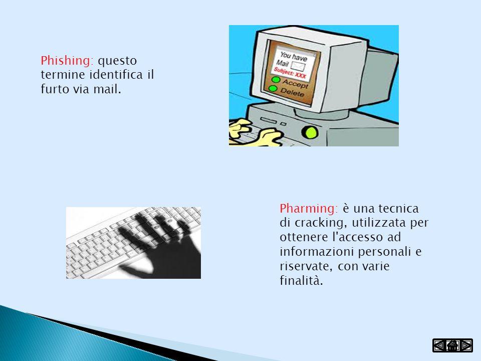 Phishing: questo termine identifica il furto via mail.