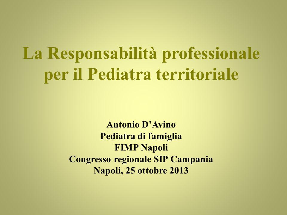La Responsabilità professionale per il Pediatra territoriale
