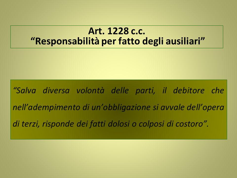 Art. 1228 c.c. Responsabilità per fatto degli ausiliari