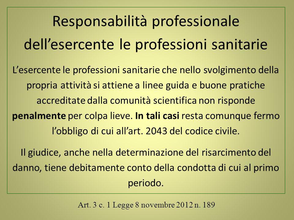Responsabilità professionale dell'esercente le professioni sanitarie