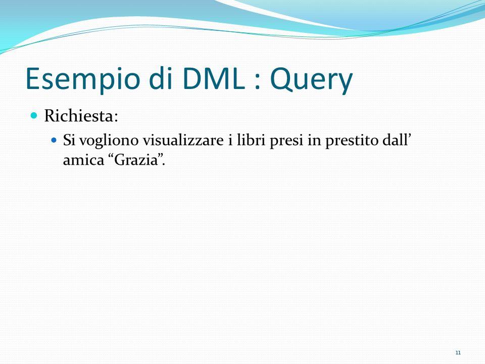 Esempio di DML : Query Richiesta: