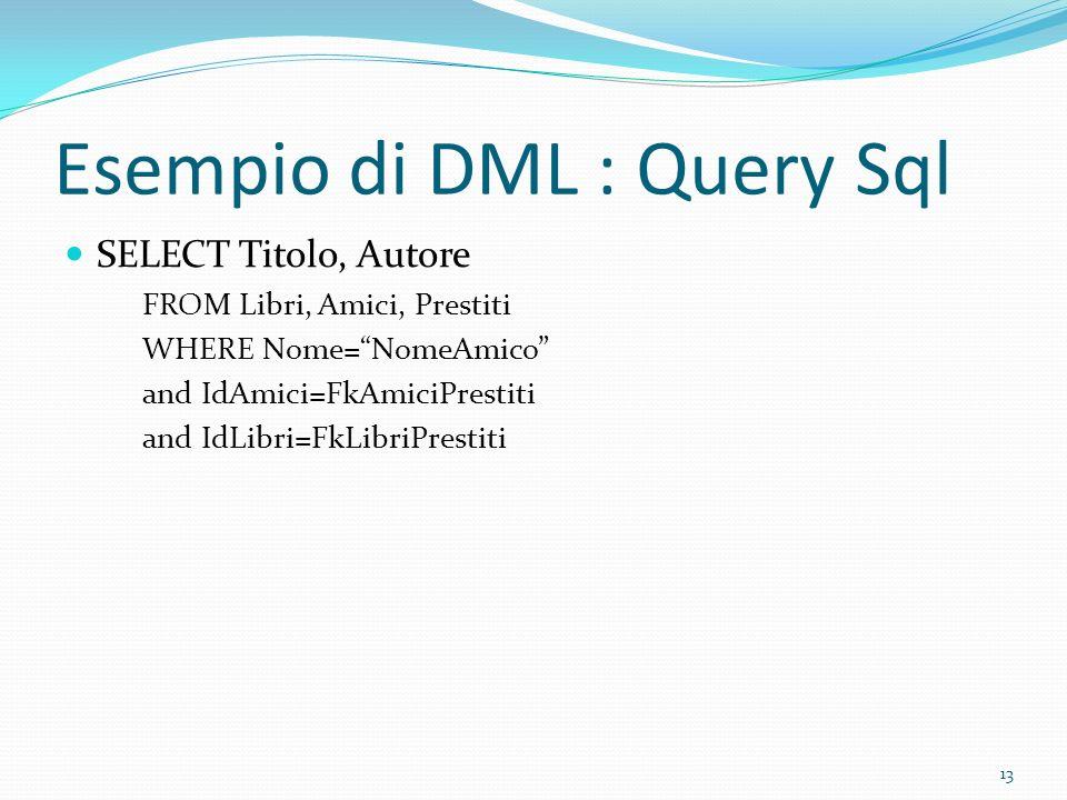 Esempio di DML : Query Sql