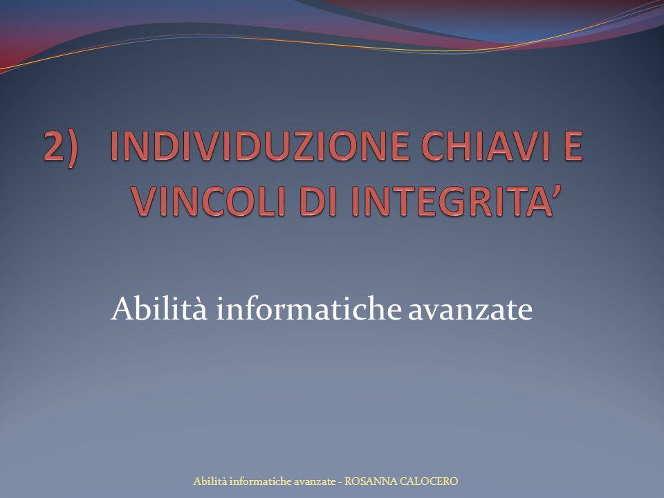 INDIVIDUZIONE CHIAVI E VINCOLI DI INTEGRITA'
