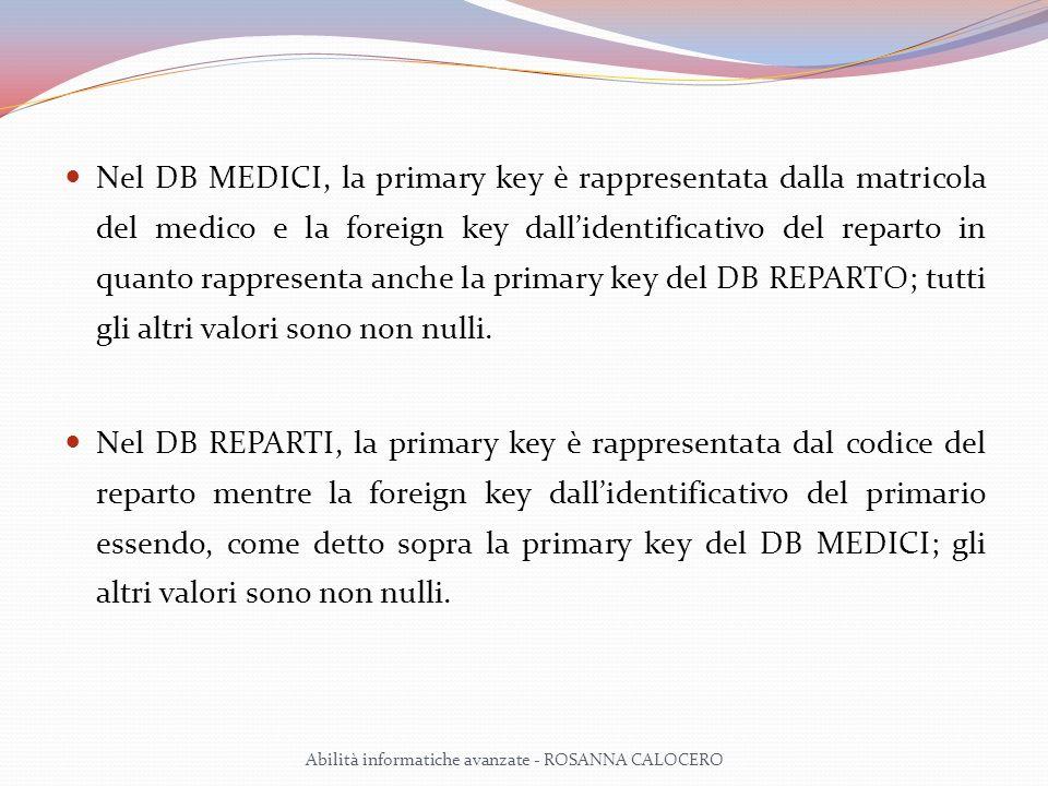Nel DB MEDICI, la primary key è rappresentata dalla matricola del medico e la foreign key dall'identificativo del reparto in quanto rappresenta anche la primary key del DB REPARTO; tutti gli altri valori sono non nulli.