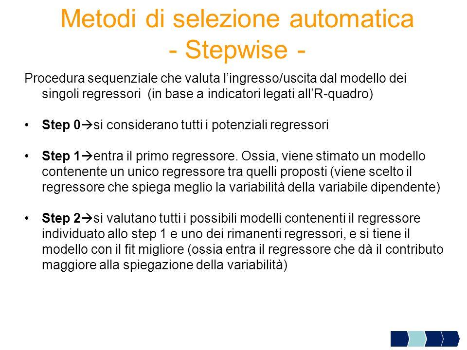 Metodi di selezione automatica - Stepwise -