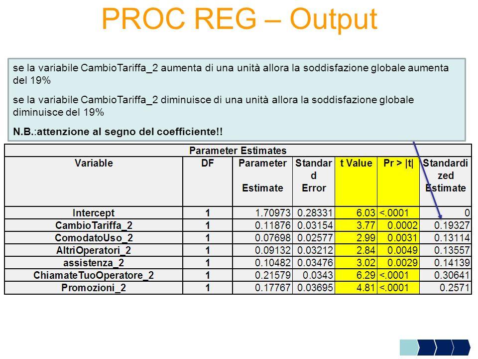 PROC REG – Output se la variabile CambioTariffa_2 aumenta di una unità allora la soddisfazione globale aumenta del 19%