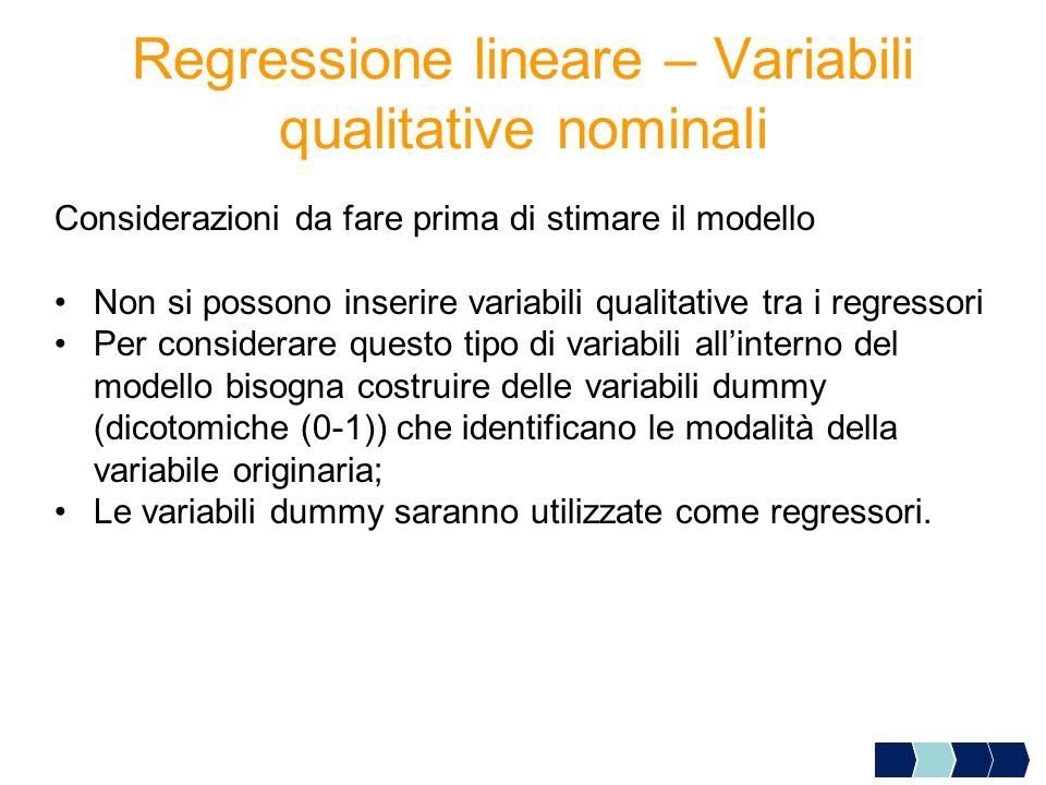 Regressione lineare – Variabili qualitative nominali