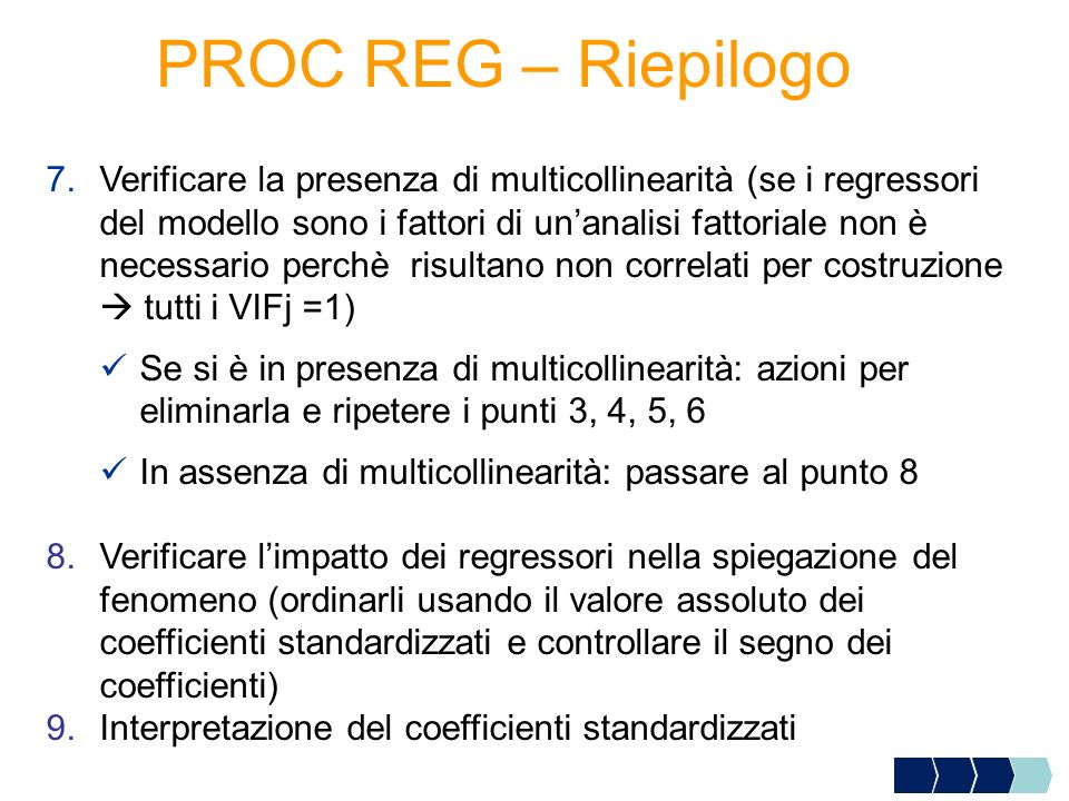 PROC REG – Riepilogo