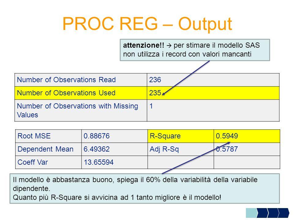 PROC REG – Output attenzione!!  per stimare il modello SAS non utilizza i record con valori mancanti.
