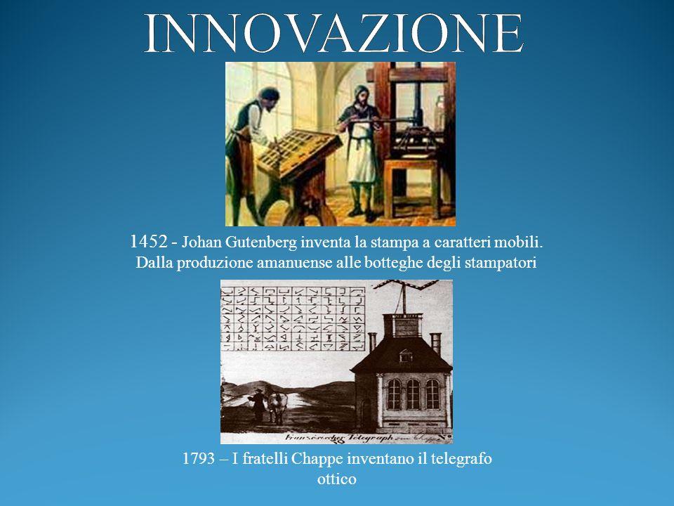 INNOVAZIONE 1452 - Johan Gutenberg inventa la stampa a caratteri mobili. Dalla produzione amanuense alle botteghe degli stampatori.