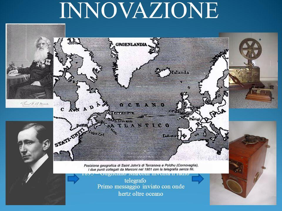 INNOVAZIONE 1844 – Samuel Morse e Alfred Vail inventano il telegrafo elettrico. 1895 – Guglielmo Marconi inventa il radio telegrafo.