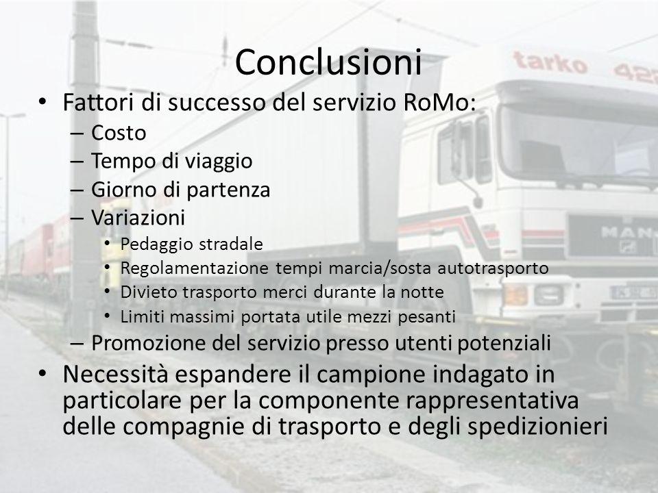 Conclusioni Fattori di successo del servizio RoMo:
