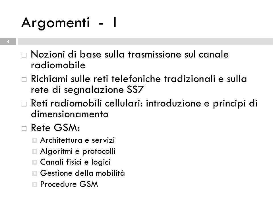 Argomenti - I Nozioni di base sulla trasmissione sul canale radiomobile.