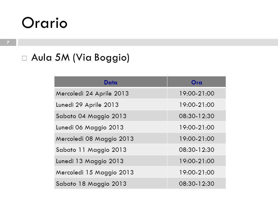Orario Aula 5M (Via Boggio) Data Ora Mercoledì 24 Aprile 2013