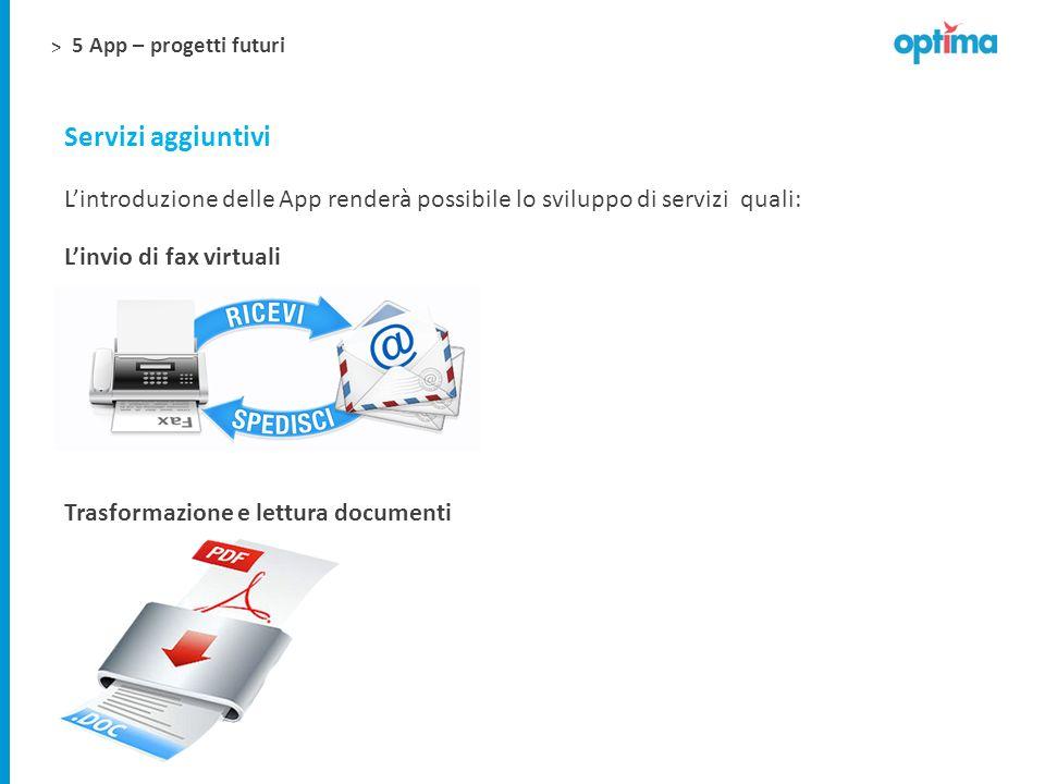 5 App – progetti futuri Servizi aggiuntivi. L'introduzione delle App renderà possibile lo sviluppo di servizi quali: