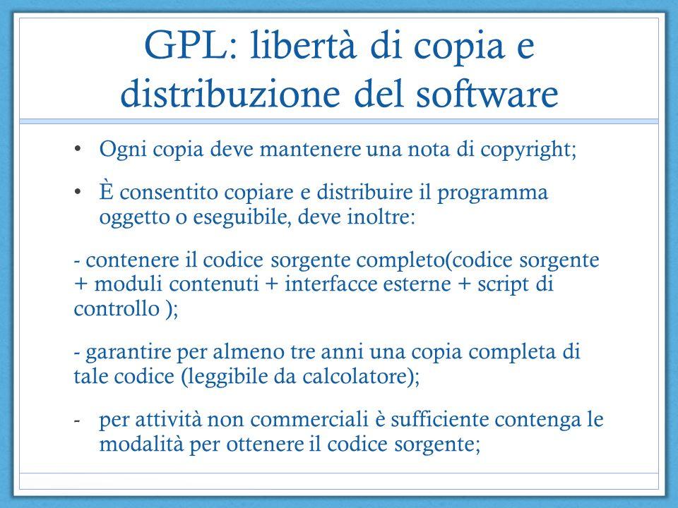 GPL: libertà di copia e distribuzione del software