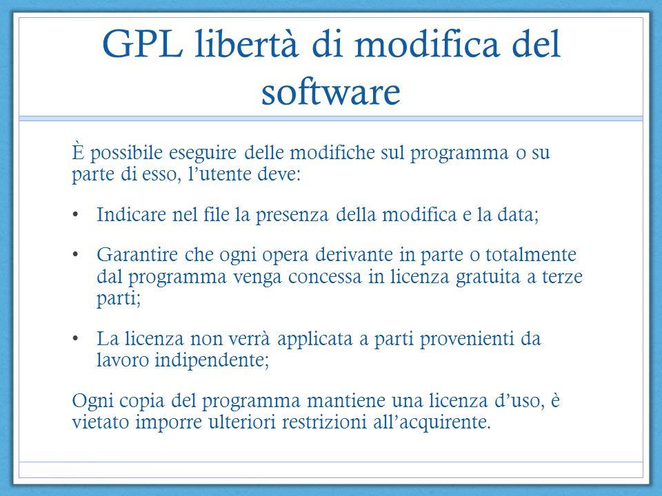 GPL libertà di modifica del software