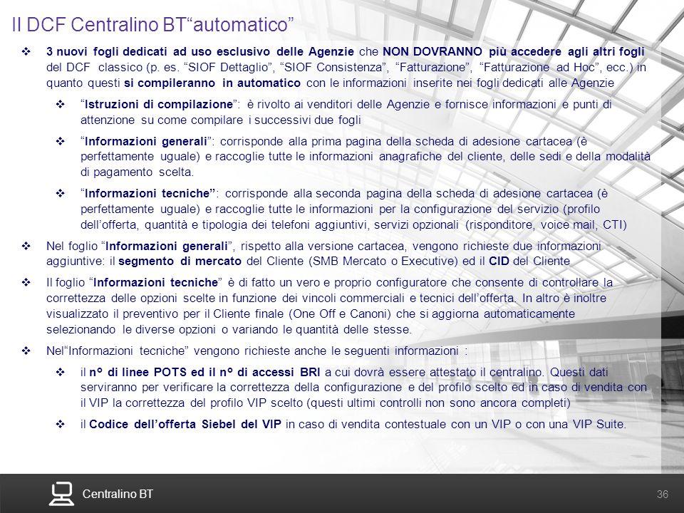 Il DCF Centralino BT automatico