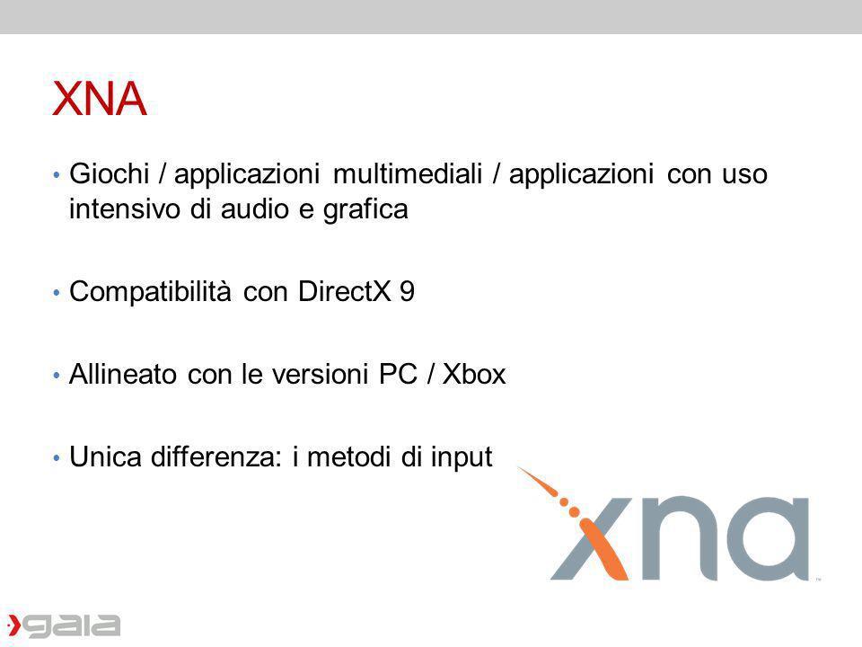 XNA Giochi / applicazioni multimediali / applicazioni con uso intensivo di audio e grafica. Compatibilità con DirectX 9.