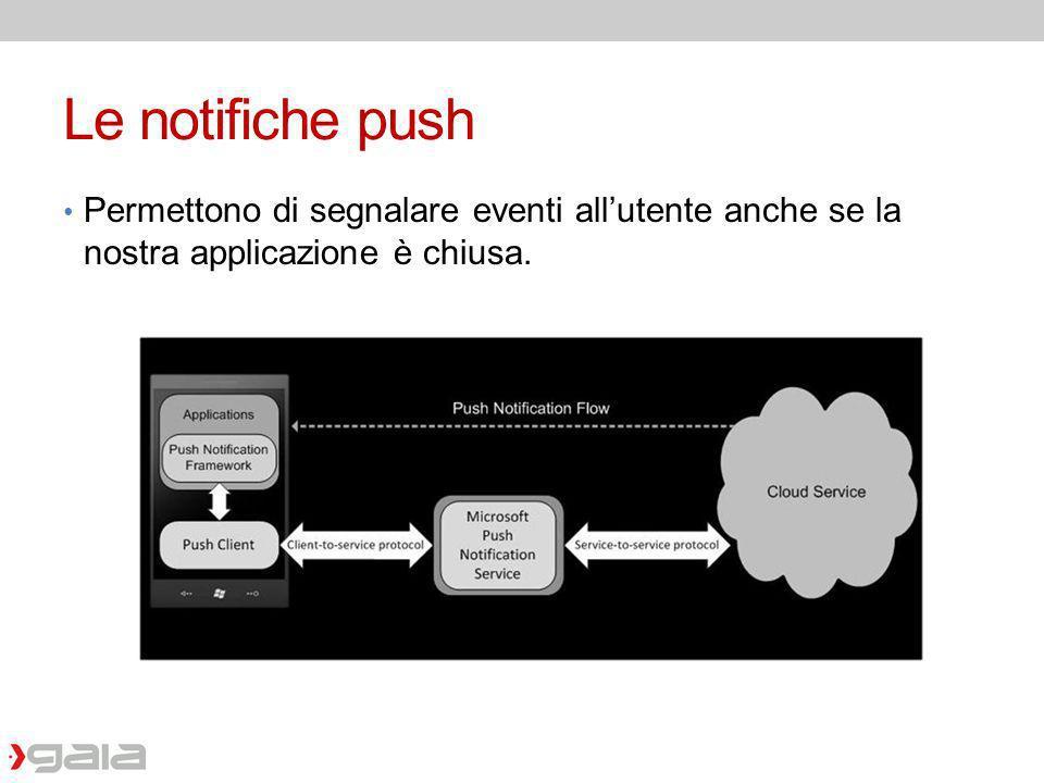 Le notifiche push Permettono di segnalare eventi all'utente anche se la nostra applicazione è chiusa.