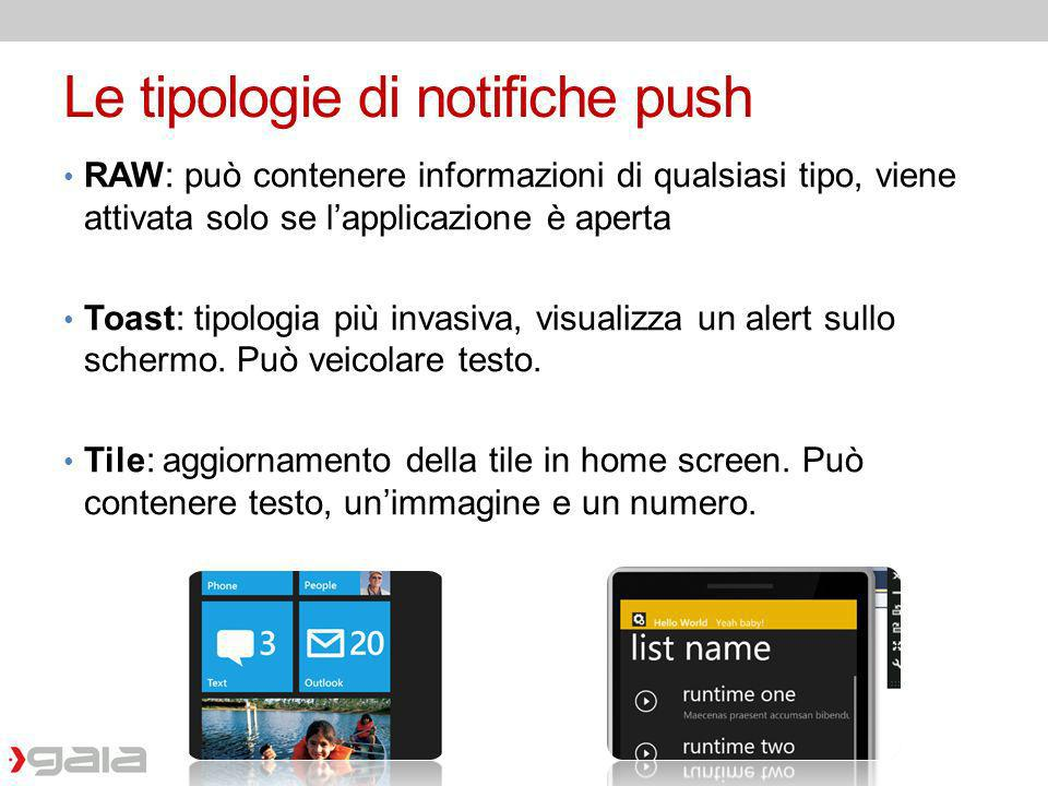 Le tipologie di notifiche push