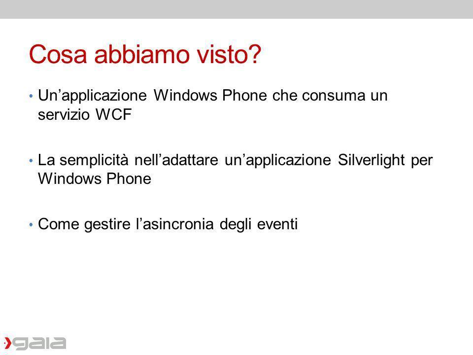 Cosa abbiamo visto Un'applicazione Windows Phone che consuma un servizio WCF.