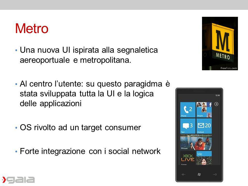 Metro Una nuova UI ispirata alla segnaletica aereoportuale e metropolitana.